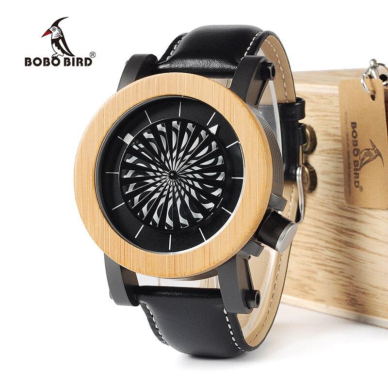 BOBO BIRD WM06M07 Mechanical Watch Top Brand Luxury Maple Pine Wooden Wrist Watches for Men Cool Rotating Dial Luxury
