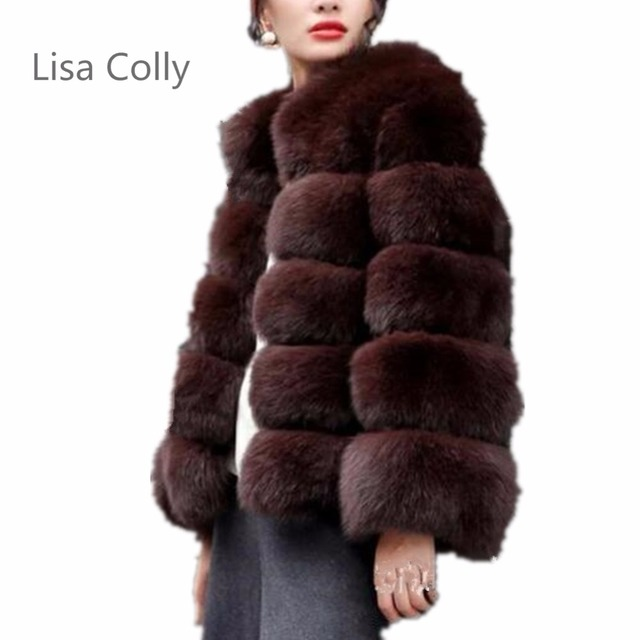 76d10aee501 Lisa Colly New Fashion fluffy faux fur coat Jacket women furry fake fur  winter Jacket outerwear