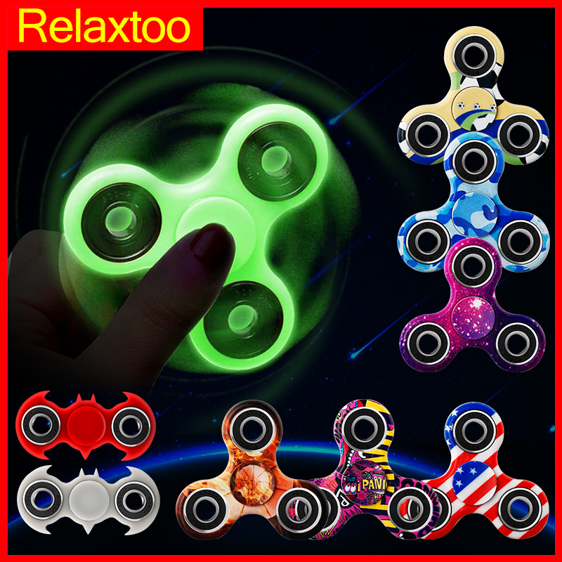 Luminous Tri Fidget Hand Spinner Light In Dark EDC Tri Spinner Batman Finger Toys Relieve Anxiety