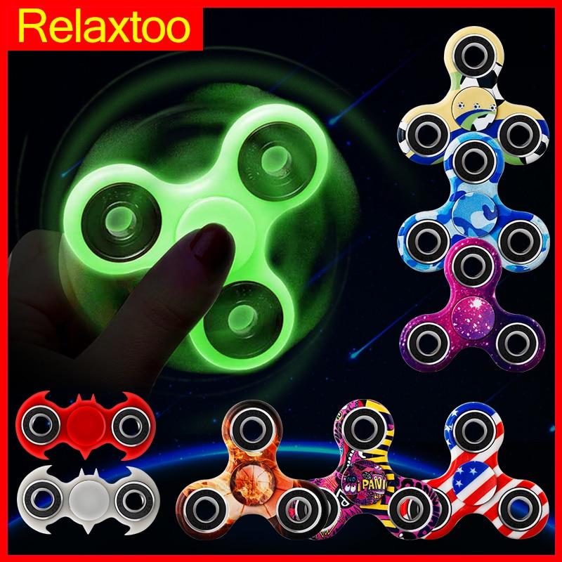 Luminoso Fidget Spinners Spinner Mano Superior Brillan en la Luz Oscura EDC Figet Spiner Batman Dedo Cubo Juguetes del Alivio de Tensión para niños