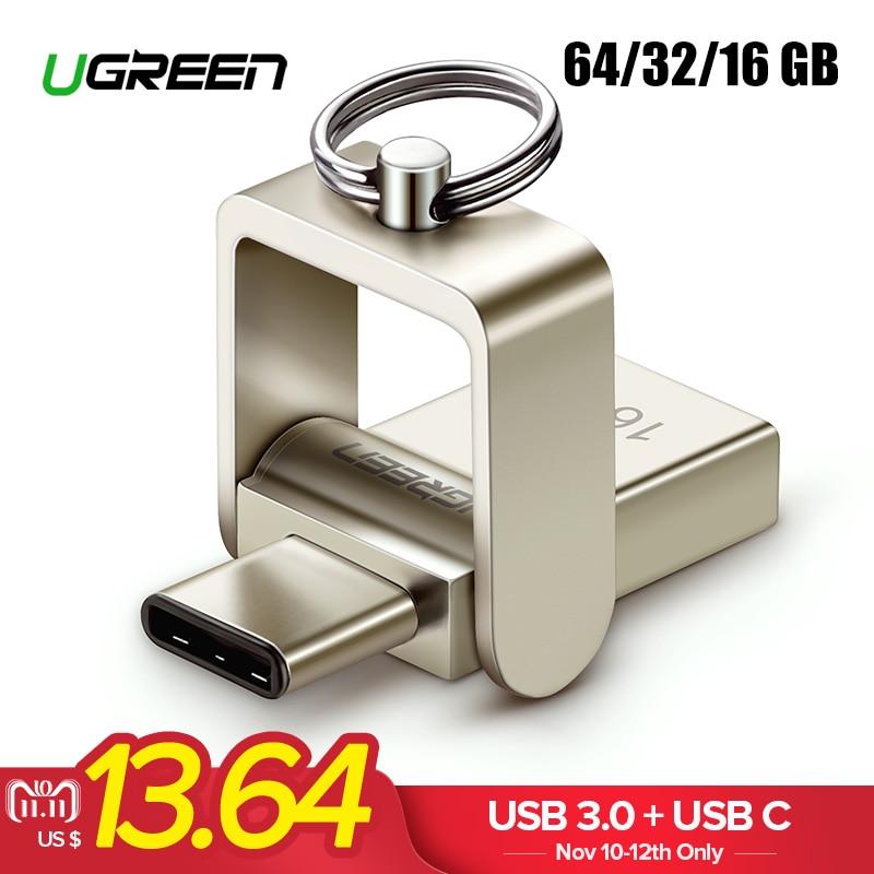 Ugreen USB Flash Drive 3,0 USB C OTG Pendrive 64 32 GB para Samsung Galaxy S9 Plus Note 9 para Xiaomi Redmi5 memoria Stick Pen Drive
