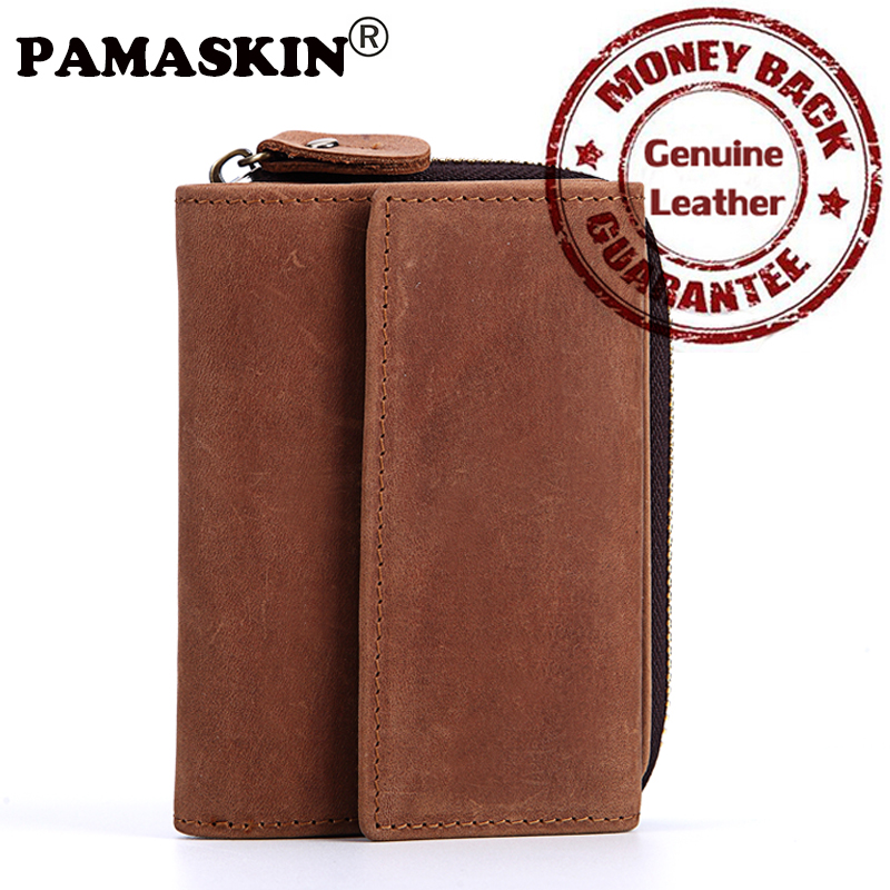 PAMASKIN Bi-fold Short Men Organizer Wallets 2017 New Premium Crazy Horse Real Leather Vintage Brand Male Purses Multi-Card Bit blundstone 1320 premium crazy horse gum