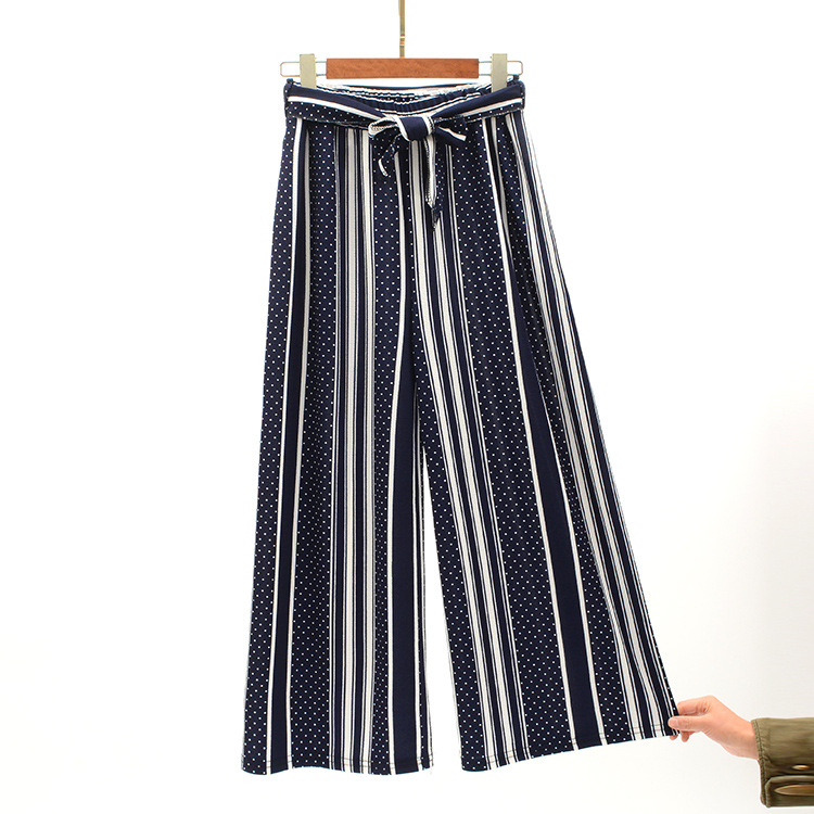 2019 Women Pants Summer New Striped High Waist Loose Pants Striped Straight Nine Pants Women 28