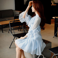 Original New 2017 Brand Vestidos High Quality Flare Sleeve Plus Size Elegant Vintage Ruffled Dress Chiffon