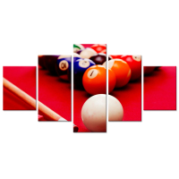 Large Canvas Wall Art 5 Pieces Table Billiard Pool Balls Picture Print On Red Background Snooker Entertainment Game Poster