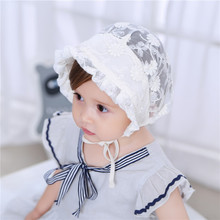 Baby Easter Bonnet Girls Lace Flower hat Christening Baptism Bonnet Sun bonnet Eyelet Baby summer cap Lace Palace Hat Newborn недорого