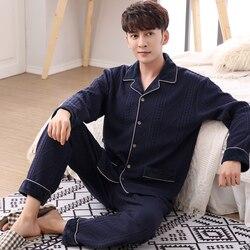Pajamas Men Autumn And Winter Mens Pyjamas Thin Three-ply Cotton Padded Suit Plus Size 3XL Pajamas Long-sleeve Casual Sleepwear