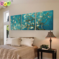 Diy diamond Painting 3 Piece Abstract Canvas Art Apricot flower Picture canvas painting Modern diamond embroidery cross stitch