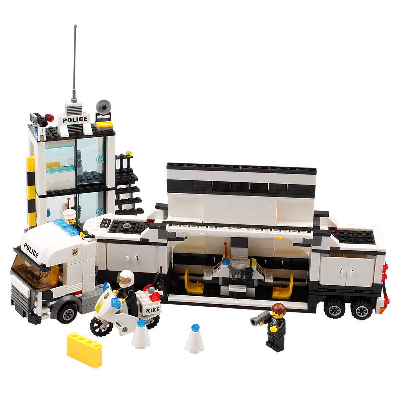Mobile Police Station Building Blocks Set for Boys