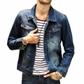 HEE GRAND 2017 New Cowboy Jacket Men Fashion Denim Water-washed Casual Jackets Male Clothes Chest Pocket Coat MWJ1309