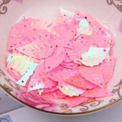 Free shipping 300pcs lot 13 22mm Leaf with 2 holes sequins Lt Pink colors Jewelry Accessories cloth crafts confetti clothing in Sequins from Home Garden