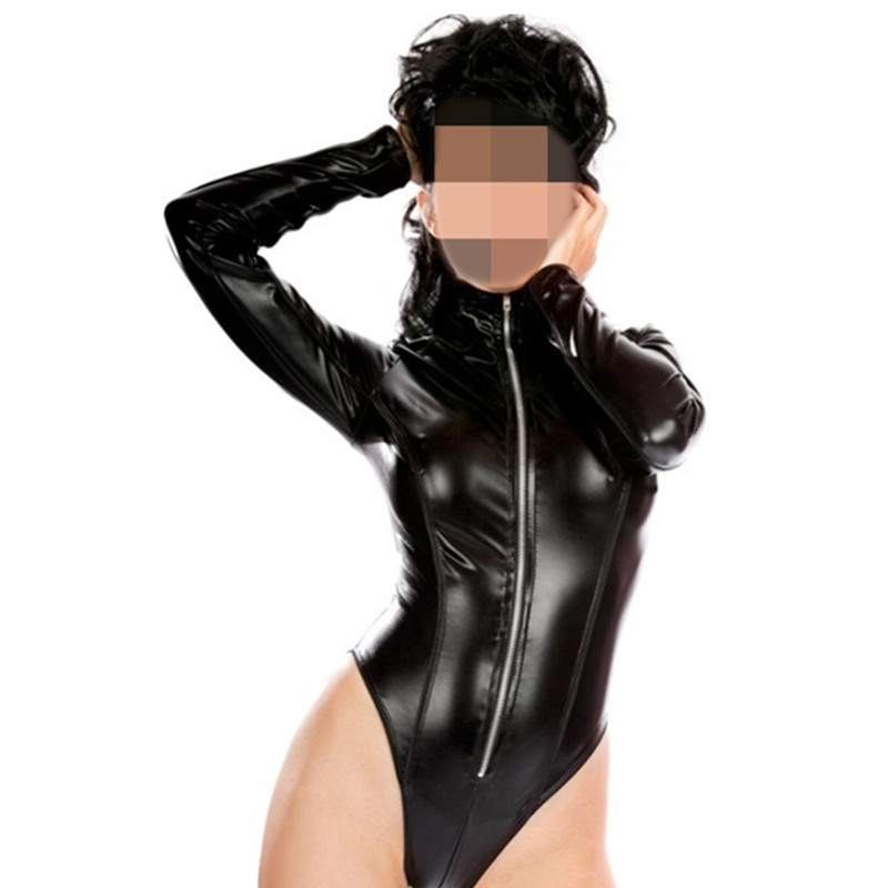 Buy New Sexy Black Catwomen Jumpsuit PVC Spandex Sleeve Latex Catsuit Costumes Women Body Suits Fetish Leather Jumpsuit