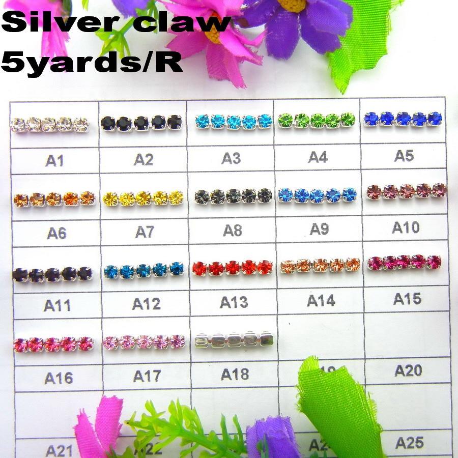 Sølvbaseklo 5yards / R Høy tetthet ss6 2mm ss8 2.5mm ss10 2.8mm ss12 3mm SS16 4mm rhinestone koppkjede Sy på lim på trim