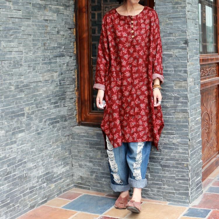 Women Shirts 2016 Autumn Linen Women Tops Long Sleeve Shirt Women Floral Print Blouses Blusas Long Tunic Tops Female Clothing