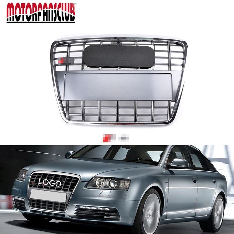все цены на 1Pcs Car Racing Grill For Audi A6 C6 Avant Quattro S6 2005-2011 Grille With Logo Radiator Chrome Front Bumper Modify Covers Mesh онлайн