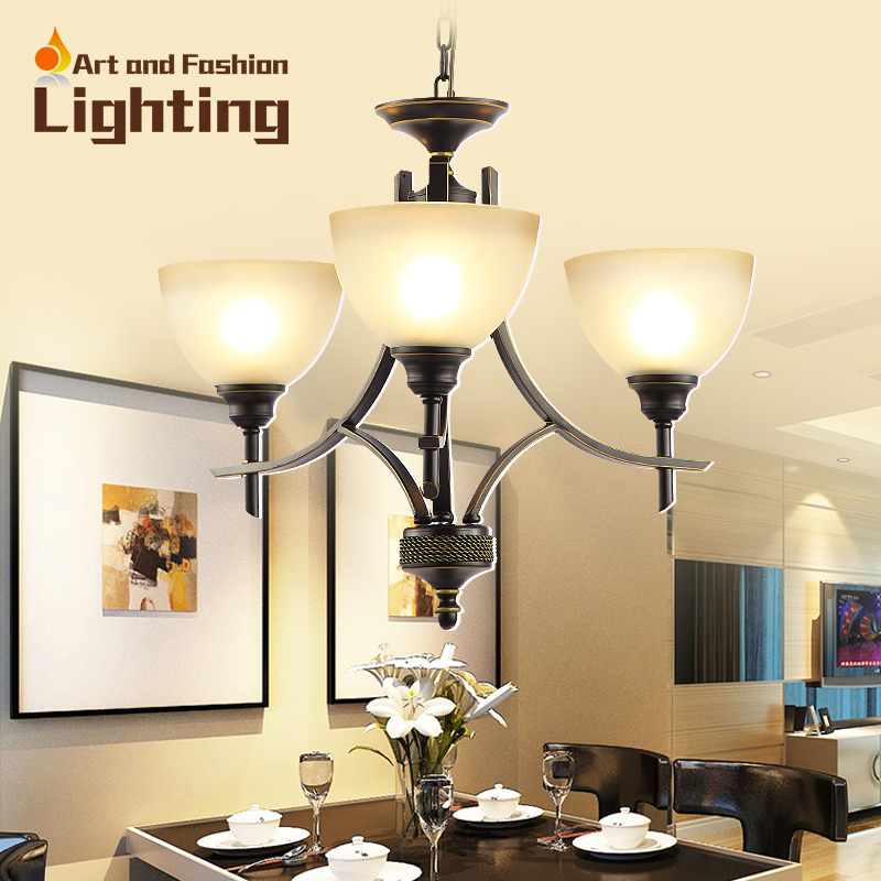 Rustic Chandeliers For Dining Room: Modern Glass Bowl Chandelier Rustic Wrought Iron 3 Lights