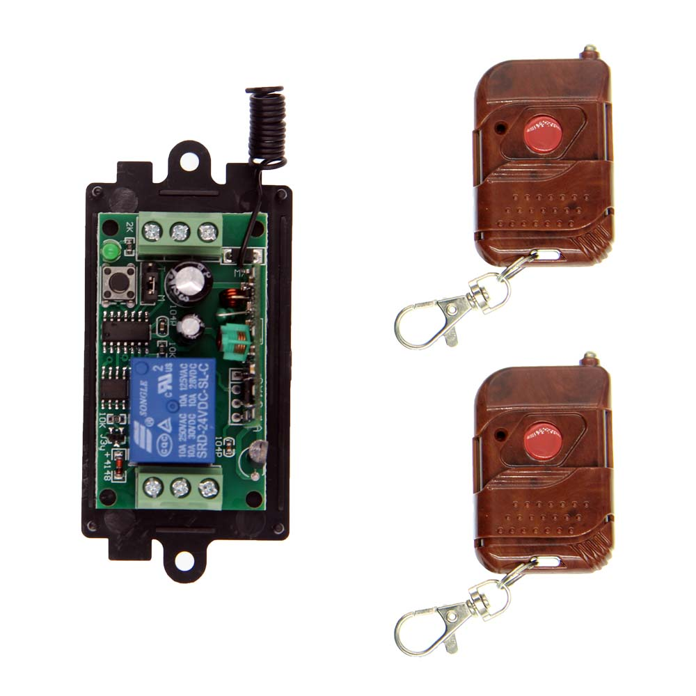 цена на DC 9V 12V 24V 1 CH 1CH RF Wireless Remote Control Switch System,2X Transmitters + Receiver,315/433MHZ,Toggle Momentary Latched