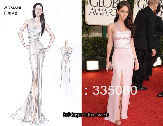 Megan Fox Satin Slit Evening Gown Golden Globe Awards