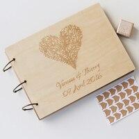 custom wood wedding album engraved rustic modern engagement anniversary holiday album Tree love