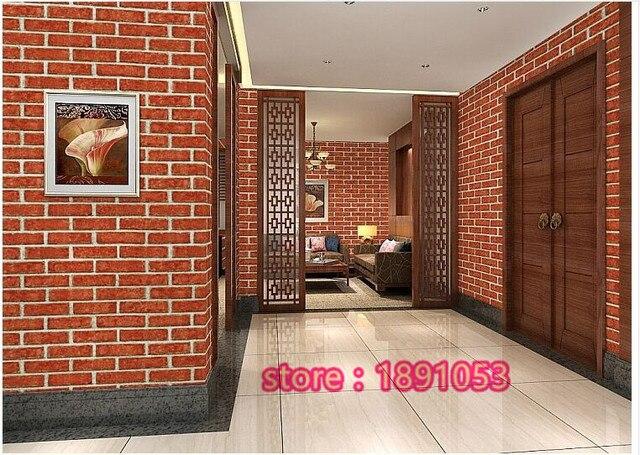 Us 4999 053x95 Miernik Sypialnia Pokój Dzienny Jadalnia Tło Tapety Cegły Wzór Symulacji Czerwona Naklejki ścienne Imitujące Cegły W 053x95