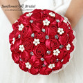 Free Shipping 100% New 2016 Wedding Bouquet Red Bridal Pearl Bouquet De Fleurs Mariage Jewelry Diamond Silk Roses Bridal Flowers
