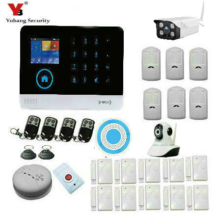 YoBang Security Wireless GSM SMS Android IOS Application Home Burglar Alarm System Wireless Alarm Outdoor Wireless Network Camer