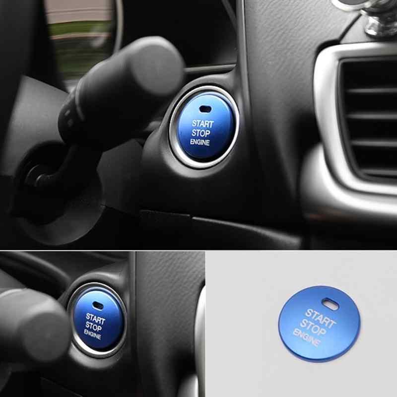 Auto di Inizio del Motore Pulsante di Arresto di Copertura Trim Cap Sticker per Mazda 3 Axela CX-3-4-5 di Alluminio Argento Auto Accessorie