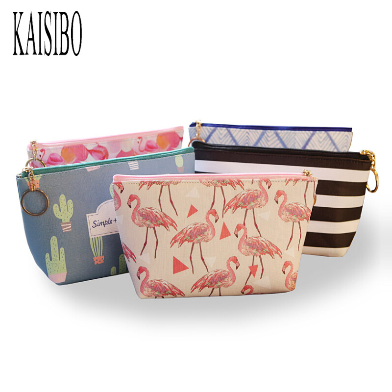KAISIBO Cute Mini Cosmetic Bags Organizador Flamingo Print Women Makeup Necessaries Zipper Travel Make Up Bag Organizer