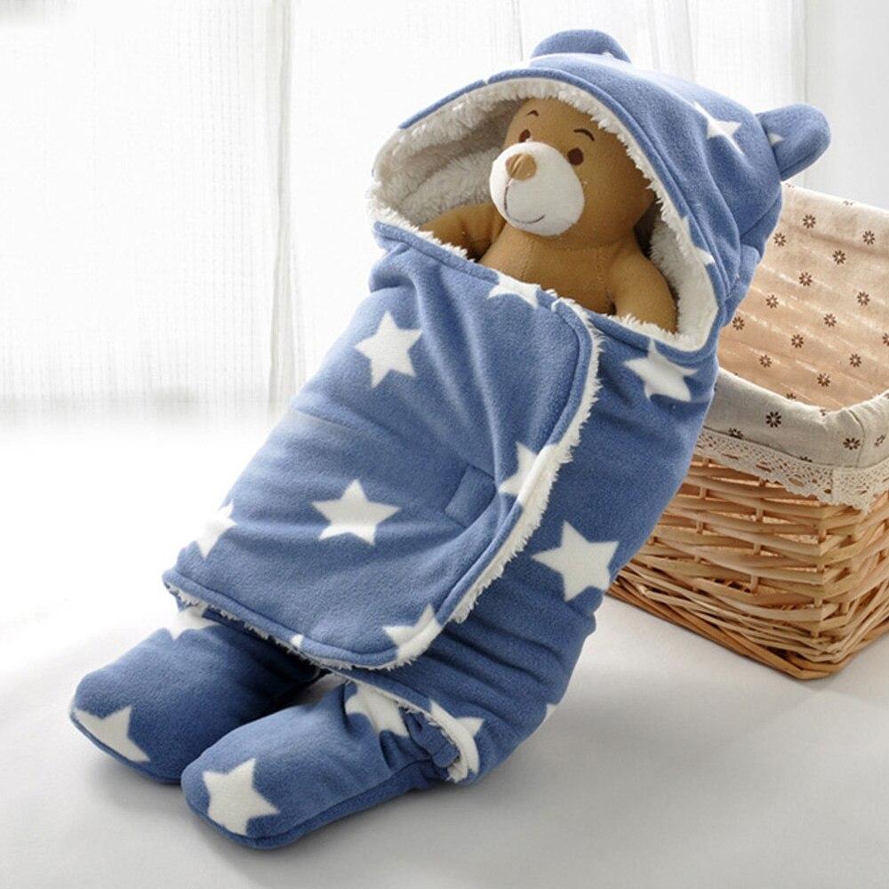 Baby infant winter sleeping bags 65*75cm Plush baby swaddle blanket ...