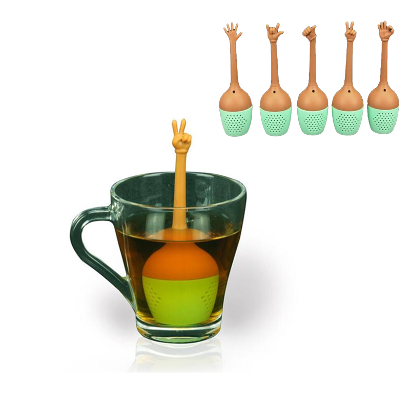Us 1 99 30 Off Tea Infuser Gadget Creative Hand Gestures Leaf Reusable Bag Coffee Strainer Herbal E Holder Brewing Tool In
