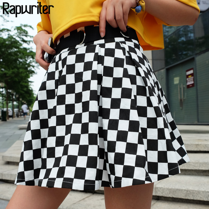 Rapwriter Fashion Black And White Plaid A-Line Skirts Women 2018 New Casual High Waist Streetwear Mini Skirt Sexy Saias Falda