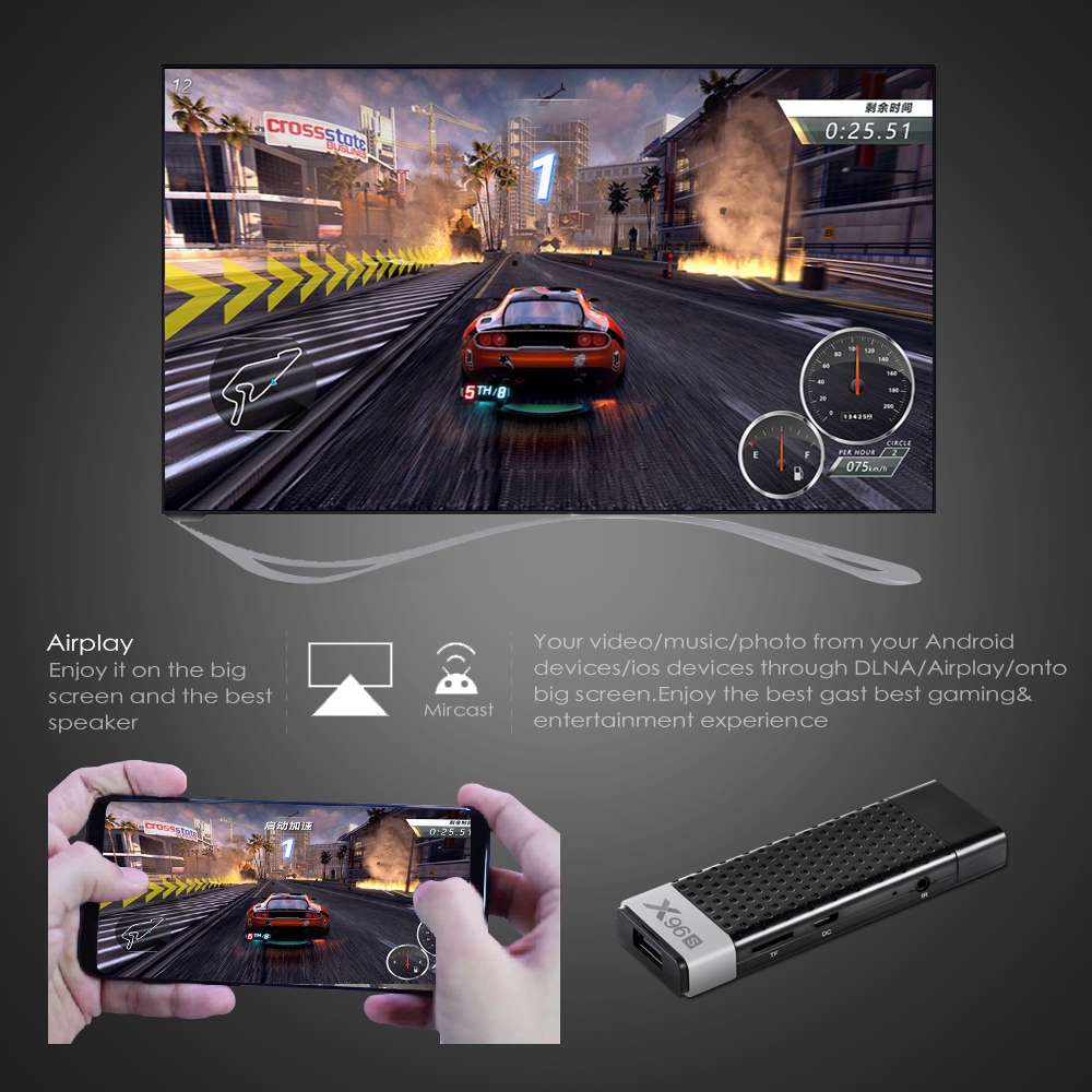 X96S FORNORM High Quality 2GB+16GB S905X2 Android 8.1 Smart TV Dongle Stick Box HD 5GHZ WIFI Set Top Box For Home Office School magnetic attraction bluetooth earphone headset waterproof sports 4.2
