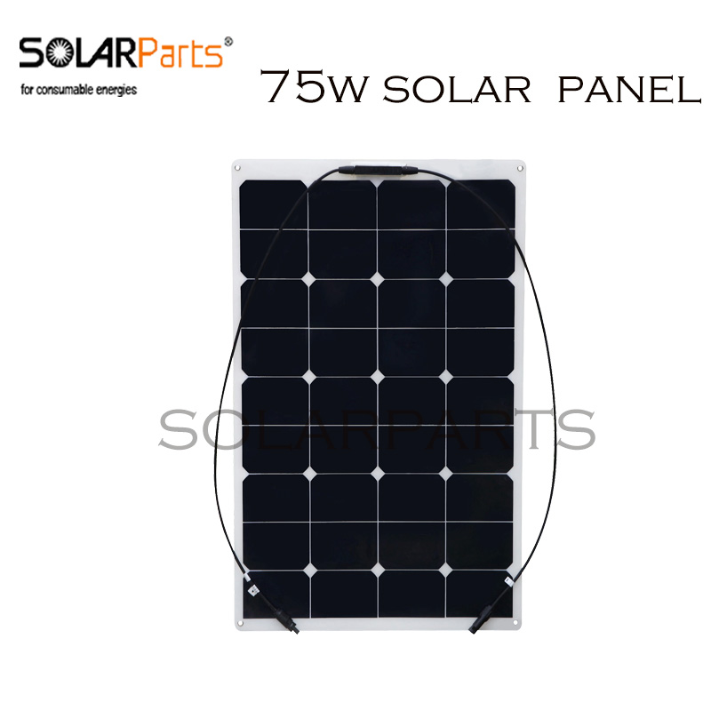 цена на BOGUANG 75W flexible solar panel 12V solar panel PV solar cell yacht boat RV solar module for car RV boat battery charger