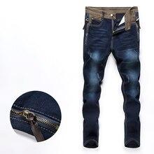 Новая осень мужчины рваные джинсы брюки длинные брюки тощий денима комбинезоны размер 28-34 CK26