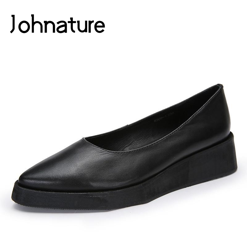 Johnature 2019 New Spring Summer Retro Genuine Leather Pointed Toe Shallow Slip on Wedges Casual Platform