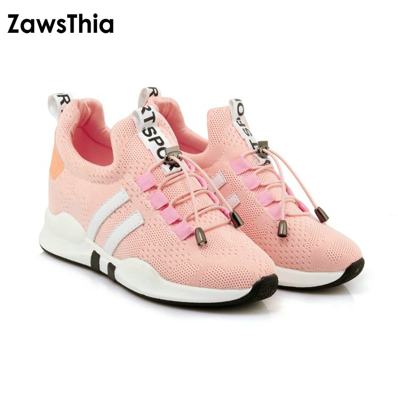 ZawsThia 2018 fashion air mesh breathable lace up outdoor women shoes flat platform woman sneakers shoes plus size 42 43 44 45 pinsen fashion women shoes summer breathable lace up casual shoes big size 35 42 light comfort light weight air mesh women flats