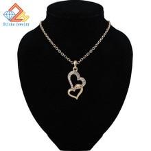 Necklace for Women Fashion Gold Color Heart Shape Pendant Opal Zircon Charm Chain pingente Female jewelry недорго, оригинальная цена
