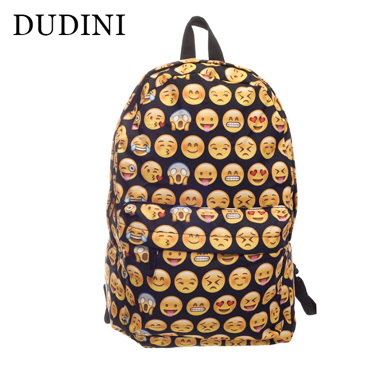 DUDINI New Casual Fashion Emoji 3D Printed Boys Girl Nylon School Bags Unisex Smiley Face Backpacks Travel Bag School Bag fossil fs4865