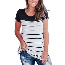 Casual Summer Womens Shirts Pockets Striped Short Sleeves O-neck White Black Tees Blouses Lace Patchwork Shirt Female