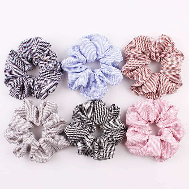 1PCS 24 Colors Stripes Dot Grid Hound 39 stooth Elastic Hair Bands Ponytail Holder Scrunchies Tie Hair Rubber Lady Hair Accessories in Women 39 s Hair Accessories from Apparel Accessories