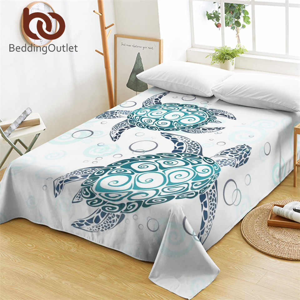 BeddingOutlet Sea Turtles Bed Sheets Tortoise and Bubbles Flat Sheet Marine Animal Bedlinen Cartoon Blue Bedspreads 1pc
