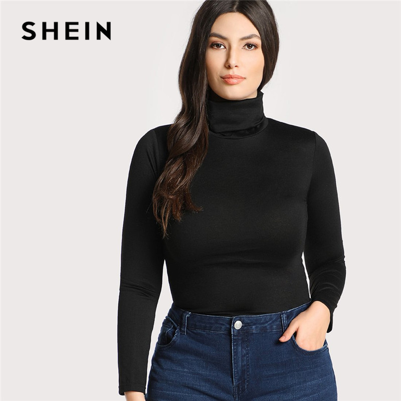 SHEIN Plus Size Black Casual High Neck Long Sleeve Solid Skinny Womens Top Tees 2018 Autumn Winter Slim Fit Turtleneck T Shirt