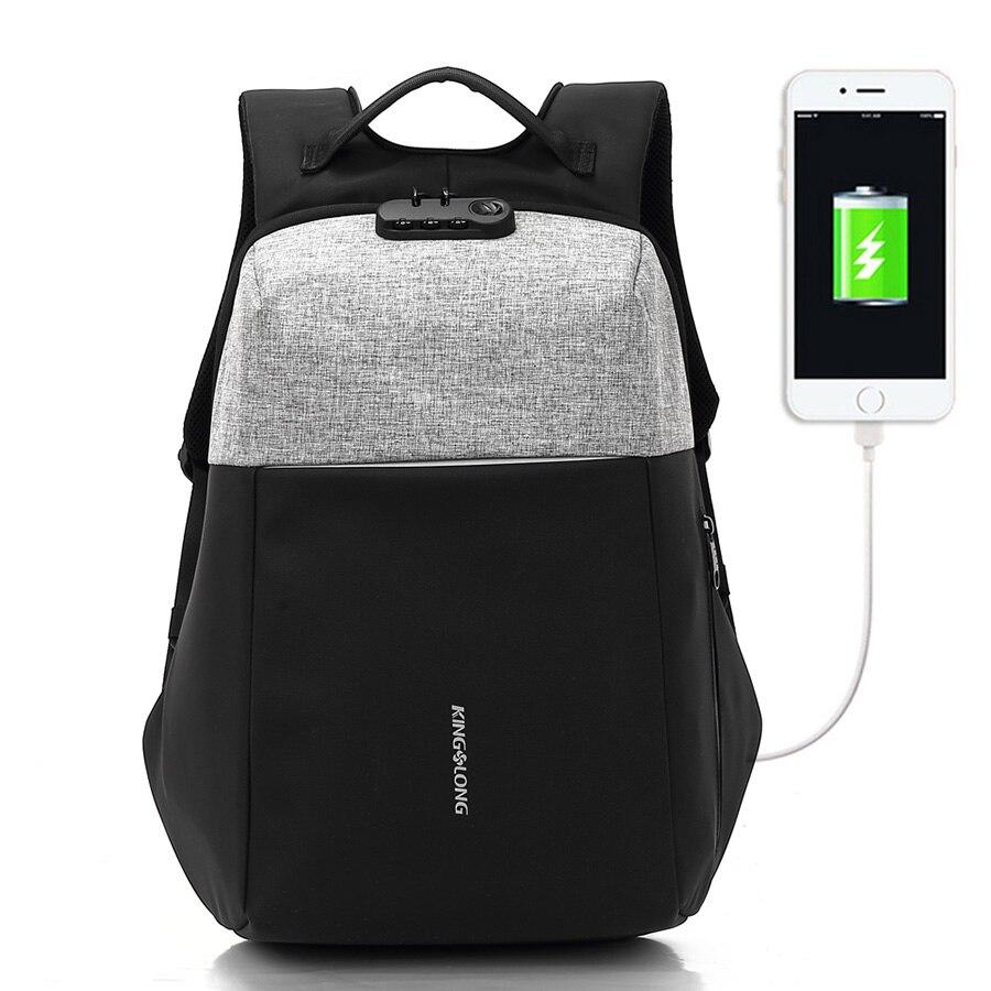 KINGSLONG 2018 Новый Анти-вор дизайн USB зарядку замок дизайн мужчины мода рюкзак дорожная Сумка водостойкий #53