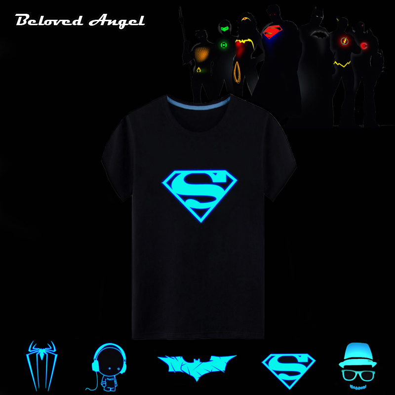 2018 Luminous Short Sleeves T-Shirts For Boys Girls Superman Batman T Shirt Kids Christmas Baby Girl Tops 3 - 15 Years Designs