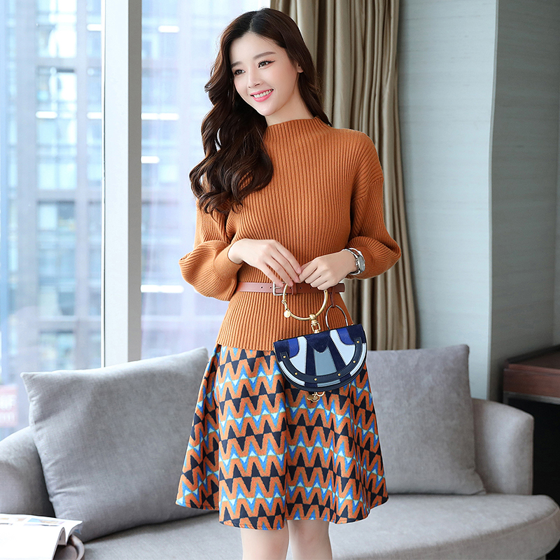 2019 autumn two piece suits for female fashion sweaters a line skirts office lady elegant clothes