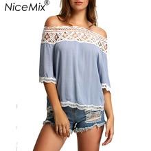 NiceMix 2019 Sexy Off Shoulder Women Chiffon Blouses Hollow Out Tops Elegant Lace Blusas Shirt Casual Ladies