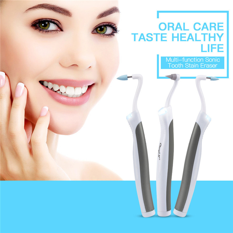 CkeyiN Multifunction Sonic LED Dental Tool Kit Oral Hygiene Care Clean Tooth Stain Eraser Plaque Remover 4 Heads Teeth Whitening