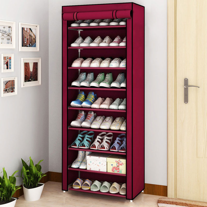 Rack-Organizer Shoe-Cabinet Fabric-Shoes Cloth Dust-Proof Folding Multi-Layer Simple