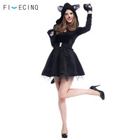 Haloween Cat Costume Animal Cosplay Black Dress Role Play Girls Outfit Festival Party Fancy Funny Skirt Masquerade Anime Suit