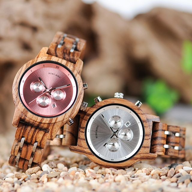 Women's Round Shaped Mechanical Wooden Watch